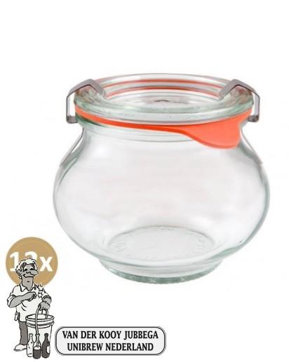 Weckglas sier 0,22 ltr. per doos van 12 stuks 902 (exclusief weckklemmen)
