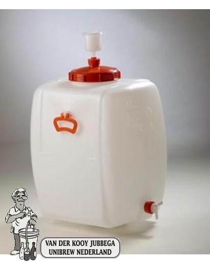 Gistingscontainer vierkant plastic incl. kraan en waterslot 110 liter