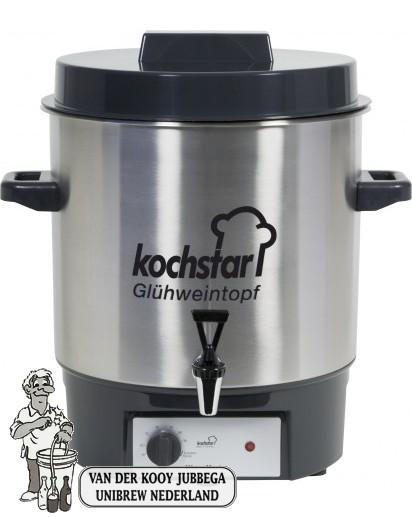 Kochstar roestvrijstalen pan 27 liter met 1800 Watt verwarmingselement, thermostaat en 1/2'' kraan