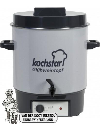 """Kochstar emaille pan 27 liter met verwarmingselement, thermostaat en 1/4"""" kraan."""