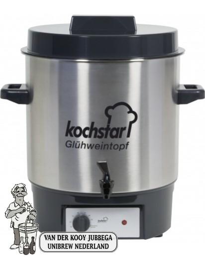 Kochstar roestvrijstalen pan 27 liter met 1800 Watt verwarmingselement, thermostaat en 1/4'' kraan