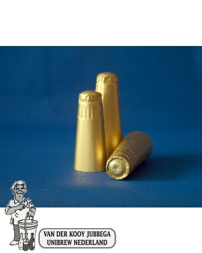 Aluminium kapsules champagne goud 25 stuks.