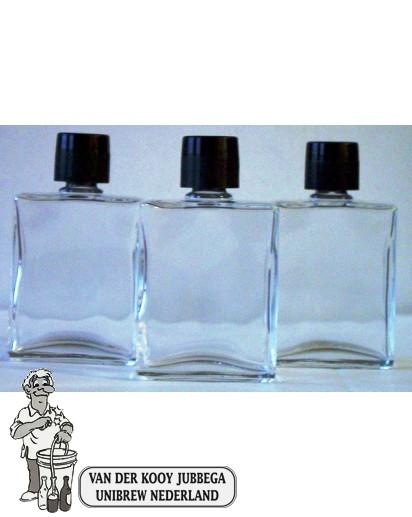 Zakfles/ parfum (heup)flacon, inhoud 50 ml. Doos 126 Stuks. (schroefdop en druppel plugje)