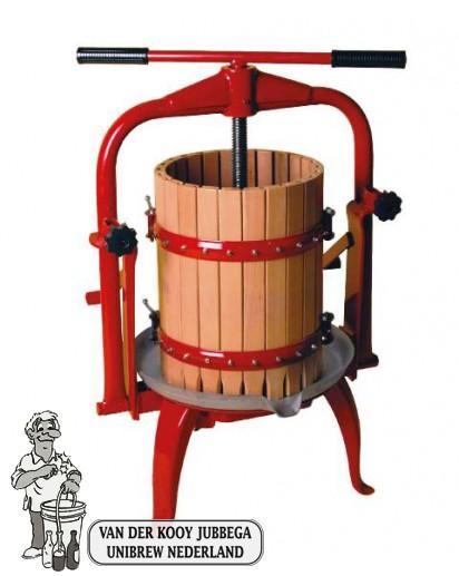 Fruitpers type 25: inhoud 20 liter kantelbaar en RVS onderstel.