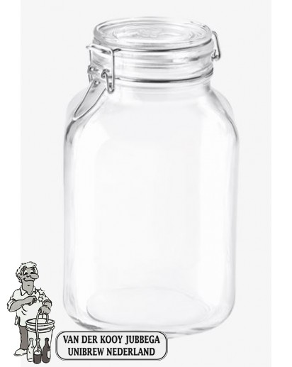 Glazen voorraadpot 3 liter met klemdeksel