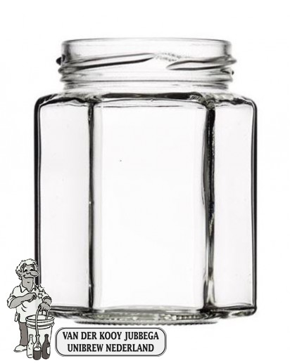 Jampot zeskant 110 ml inclusief twist off deksel 48 mm. (per 72 op tray)