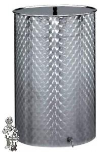Gistingstank RVS vlakbodem +deksel +kraan 300 L