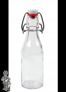 200 ml Beugelfles incl. beugelsluiting, rond, helder glas