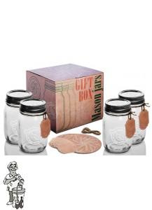 Giftbox met 4 Mason jars 500 ML Amerikaanse weckpot