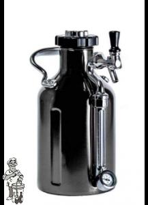 GrowlerWerks uKeg™64 zwart chroom 1,9 liter
