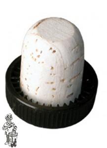 Porto kurk T-kurk zwarte plast.kop 1000 stuks.