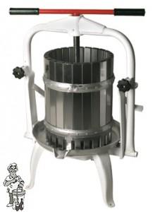 Fruitpers type 25: inhoud 20 liter kantelbaar en RVS onderstel + Korf