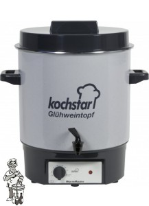 "Kochstar emaille pan 27 liter met verwarmingselement, thermostaat en 1/4"" kraan."