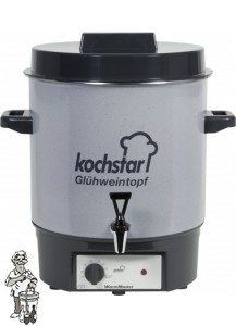 "Kochstar emaille pan 27 liter met verwarmingselement, thermostaat en 1/2"" kraan."