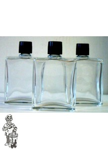 Zakfles (heup)flacon, inhoud 100 ml.( met zwarte dop en plugje)