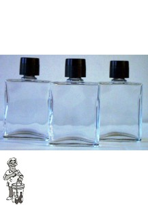 Zakfles (heup)flacon, inhoud 50 ml. (Met zwarte dop en plugje).