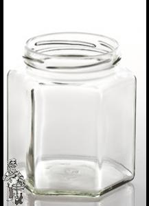 Jampot zeshoekig glas 390 ml