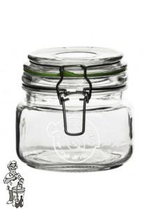 Glazen voorraadpot (clip jar) 500 ml met klemdeksel (per doos van 24 stuks)