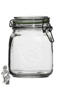Glazen vooraadpot 1000 ml met klemdeksel