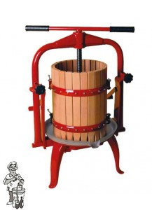 Fruitpers type 20: inhoud 10 liter kantelbaar en RVS onderstel.